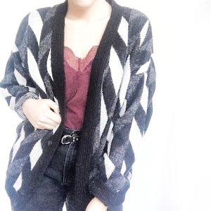 Vintage Oversized Striped B&W Cardigan Sz L ✨